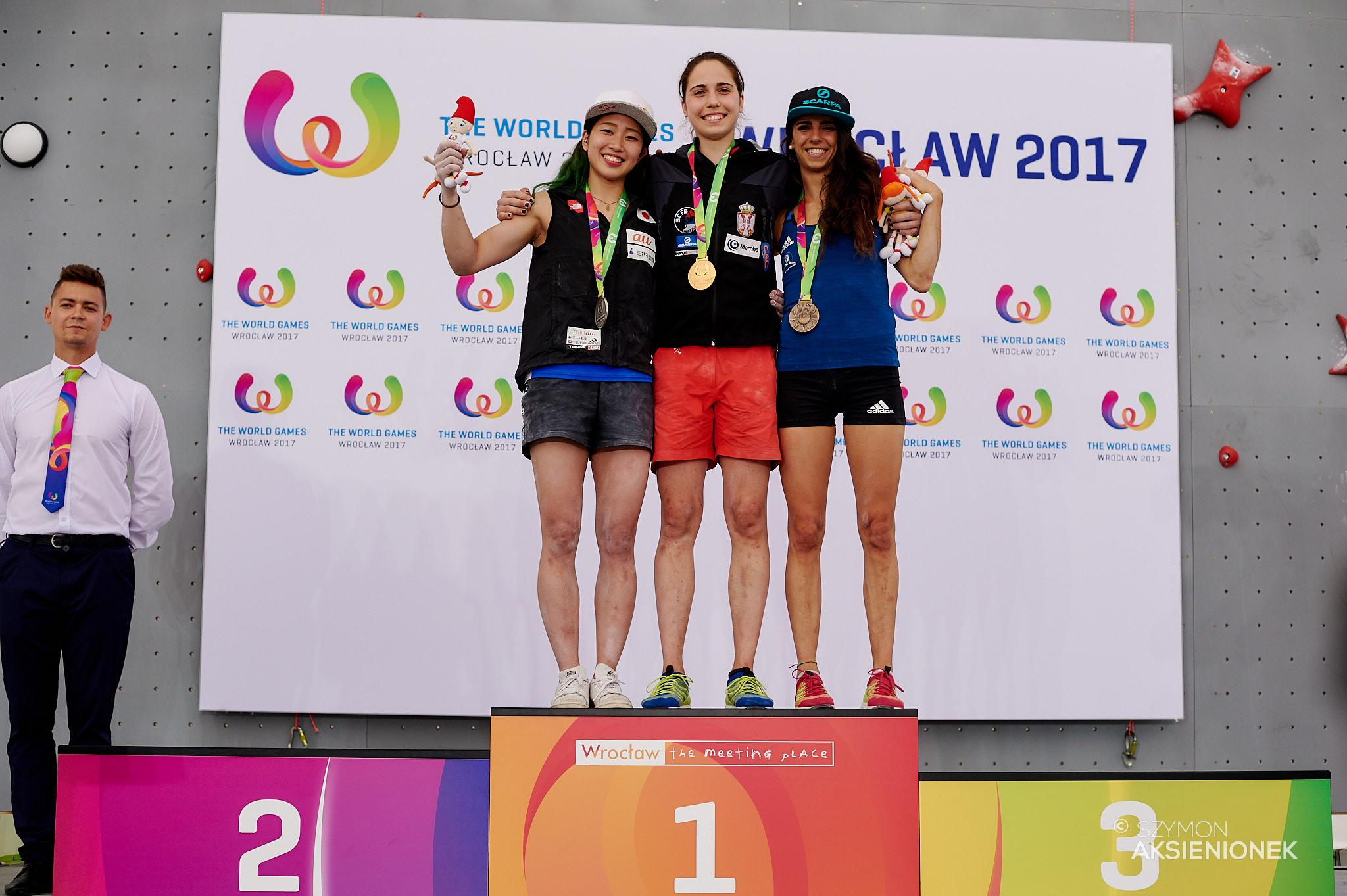 The Women's Bouldering podium at The Wroclaw 2017 World Games