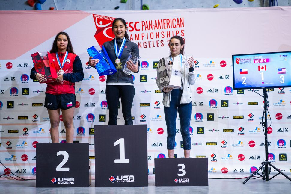 Women finals podium in Los Angeles