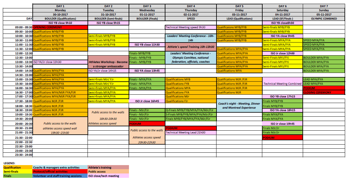 Climbing Panamericain Youth Championship Montreal 2017 Schedule (23 10 2017)