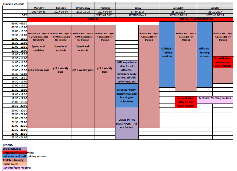Climbing Panamericain Youth Championship Montreal 2017 pre competition schedule (23 10 2017)